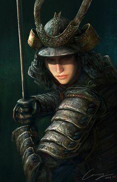 f Fighter portrait Female Warrior on Behance Fantasy Female Warrior, Warrior Girl, Samurai Warrior, Fantasy Armor, Female Art, Female Samurai Art, Fantasy Samurai, Warrior Women, Character Portraits