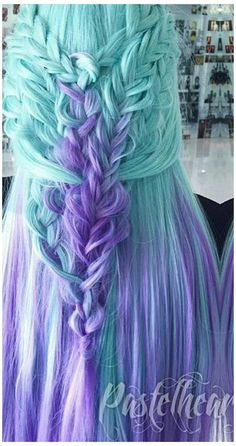 Blue purple dyed hair color in ombre . - Blue purple dyed hair color in ombre - Hair Dye Colors, Hair Color Blue, Cool Hair Color, Ombre Color, Purple Hair, Mint Green Hair, Crazy Color Hair Dye, Blue Green, Mint Hair