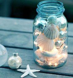 DIY maritime Deko mit Muscheln und Lichterketten
