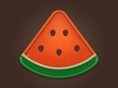 Watermelon Pizza Badge by Anna Paschenko