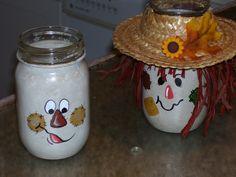 Mason jar votive candle scarecrows