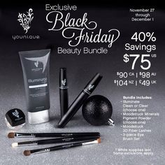 Yes! Best Younique Black Friday ever! Mascara, pigment, face wash and brush set trio for $75?! Highway robbery!! Too good to be true. Is this real life?! Want one? Youniqueproducts.com/tawnyvena  #giftsforgirls #winterwonderland #girlygirl