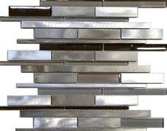 10 SF – Metal Stainless Steel Linear glass mosaic Tile Kitchen Backsplash Beige