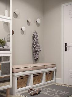 Stylish Apartment Redesign in Minsk – Kallax Ideas 2020 Gray Interior, Interior Design, Flur Design, Diy Design, Design Ideas, Porch Decorating, Small Apartments, Mudroom, Design Case