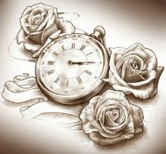 Clock tattoo with roses, however ill have the clock set to 5.01 for my sons time of birth ♥ and my wedding bouquet was rose's mebies the hint of peach through the rose for our wedding theme