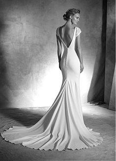 Elegant Spandex V-neck Sheath Wedding Dress with Beadings & Rhinestone  BACK