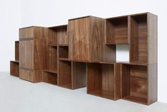 Cubit in 15 colours and natural walnut veneer Modular Shelving, Modular Storage, Wall Storage, Wooden Wall Shelves, Wall Mounted Shelves, Cubes, Plywood Walls, Walnut Sideboard, Shelf System