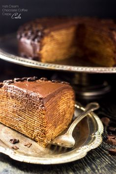 BAILEYS Chocolate Crepe Cake – A show-stopping dessert that is A LOT easier than… BAILEYS Chocolate Crepe Cake – A show-stopping dessert that is A LOT easier than… – Chocolate Crepes Cake Recipe – Crepe Cake Chocolate, Chocolate Crepes, Chocolate Ganache, Chocolate Coffee, Chocolate Pudding, Churros, Best Cake Recipes, Sweet Recipes, Dessert Recipes