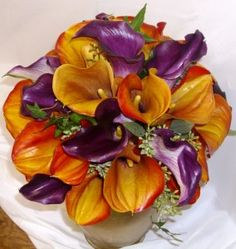 autumn wedding - purple and orange calla lilies