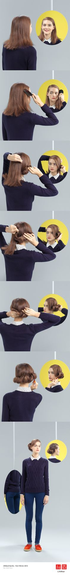 """""""THE KRISTY ROLL"""" : Dress down this Rocka-Billy inspired hair style with our ultra stretch jeans and a sweater. Click the image for DIY instructions! #UpDo #DIY #Hair #Hairstyle #Uniqlo #FW2013 #UltraStretch #USJ #HairDo"""