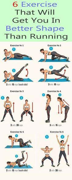 6 exercise that puts you in better shape - Yoga & Fitness - 6 Übung, die Sie in eine bessere Form bringt – Yoga & Fitness 6 Exercise that puts you in bett - Yoga Fitness, Fitness Workouts, Fitness Motivation, Sport Fitness, Running Workouts, Fitness Diet, Health Fitness, Shape Fitness, Fat Workout