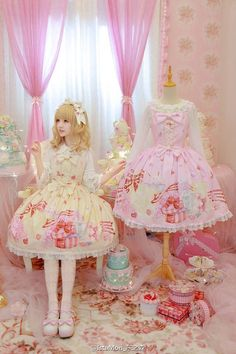 ♡ ƑASHiON ♡ sweet lolita fashion - dress - presents - cake - sweets - ribbons - dress form - decor - colorful - pastel - hair bow - tights - coordinate - pastel - harajuku - jfashion - cute - kawaii Harajuku Fashion, Kawaii Fashion, Lolita Fashion, Cute Fashion, Asian Fashion, Harajuku Girls, Rock Fashion, Emo Fashion, Fasion
