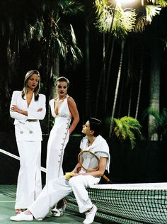US Vogue May 1993 White Mischef Kristen McMenamy Rachel Williams and Eva Herzigova by Helmet Newton