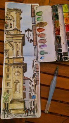 """Urban Sketchers Spain. El mundo dibujo a dibujo.: Catedral de Granada y la calle """"Pie de la Torre"""""""
