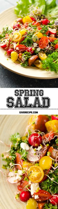Spring Salad with tomatoes, herb sprouts, lettuce leaves and radishes. With the colors in it, this is the BEST salad for spring! | giverecipe.com | #salad