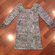 Billabong bodycon dress with fringe sleeves Billabong tribal print bodycon mini with fringe detail on sleeves. Excellent condition worn only once. Billabong Dresses Mini