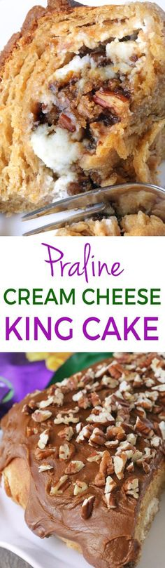 King Cake with Pecan Praline Cream Cheese Filling and Praline Frosting {100% whole grain option}
