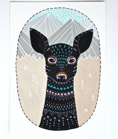 Fawn Illustration Art - Original Deer Painting - Little Fawn Masika - Animal Illustrations by Marisa Redondo via Etsy