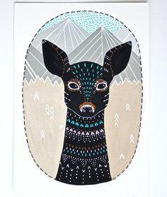 Illustration de cerf peinture - Archiv - Masika peu fauve - Illustrations animaux par Marisa Redondo