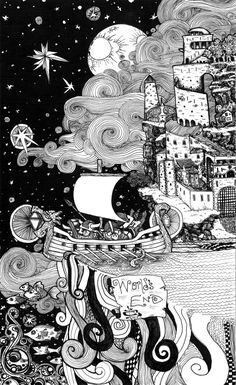 World's End, pen and ink illustration Print of a viking ship sailing off end of world with castle, fish, and stars
