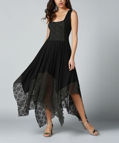 Black Lace-Trim Handkerchief Maxi Dress