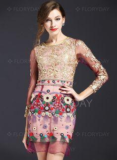 Polyester Floral 3/4 Sleeves Above Knee Elegant Dresses