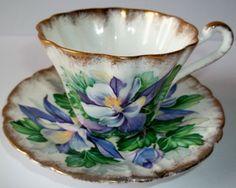 "Gladstone Bone China ""Columbine"" Beautiful Purple Flower Tea Cup and Saucer Set Gladstone, Flower Tea, Tea Sets, Cup And Saucer Set, Teacups, Purple Flowers, Bone China, Tea Time, Beautiful Things"