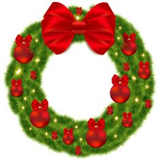 Pine Wreath with Red Bow and Christmas Balls PNG Image