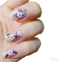 Simply Beautiful 3D White Flower Ornament With Black Leaf Decoration Nail Art Design