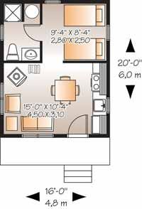Floor Plans AFLFPW05979 - 1 Story Country Home with 1 Bedroom, 1 Bathroom and 320 total Square Feet