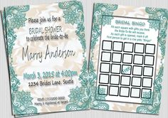 Bridal Shower Invitation, Lace Bridal, Wedding Shower Invitations, Bridal Bingo, Printable Bridal Shower Invitation by BvStudio on Etsy