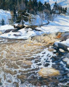 """Kevättulva"" (Spring Flood), 1895, by Pekka Halonen (1865-1933). Winter Landscape, Landscape Art, Landscape Paintings, Scandinavian Paintings, Scandinavian Art, August Sander, Albert Bierstadt, Mary Cassatt, Nordic Art"