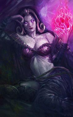 Akasha sitting upon her throne of bones and blood