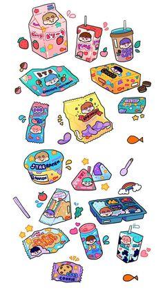 🌻BTS fanart (food)🌻- by {unknown} Cute Food Drawings, Cute Kawaii Drawings, Chibi Kawaii, Kawaii Art, Kawaii Wallpaper, Aesthetic Stickers, Food Illustrations, Cute Illustration, Cute Stickers