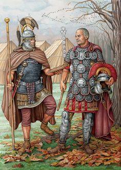 Centurión y Optio, por la panoplia durante el Alto Imperio. Cortesía de Ángel García Pinto. Más en www.elgrancapitan.org/foro