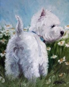 PRINT White Westie West Highland Terrier Dog Puppy Oil Painting Spring Daisies / Mary Sparrow Smith