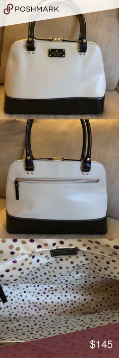 """Kate Spade Wellesley Rachelle Bag Kate Spade Wellesley Rachelle bag in black/cream!! This bag measures 11"""" in height, 14.5"""" in length, and it has a 8.5"""" strap drop. The interior has a zip pocket and two other multifunctional pockets. There is also a zip pocket on the back of the bag. Gorgeous bag in great condition!! kate spade Bags Shoulder Bags"""