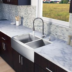 """All in One 33"""" x 22.25"""" Farmhouse Double Bowl Kitchen Sink and Faucet Set"""