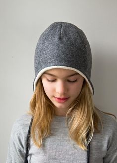 DIY: wool + cotton sewn ear flap hat