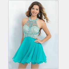Halter Backless Sexy Top Crystal Beaded Turquoise Cocktail Dresses Short 2016 Cocktail Crystal Dress In Prom Dress ShortCD06 ** Want to know more, click on the image.