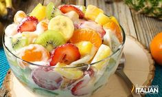 Hawaiian Cheesecake Salad SERVES 16  |  ACTIVE TIME 15 Min  |  TOTAL TIME 15 Min  1 (8-ounce) package cream cheese 1 (3.4-ounce) package instant cheesecake pudding, unprepared 1 cup International Delight French Vanilla Creamer 1 pound strawberries, hulled and sliced 4 mandarin oranges, peeled and sectioned  1 (20-ounce) can pineapple tidbits, drained 3 kiwi, peeled and cut into half moons 2 mangoes, cut into bite size chunks 1 banana, cut into coins juice of 1/2 lemon