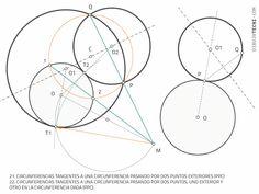 Circunferencias tangentes entre sí pasando por puntos. Tangencias de Apolonio · Dibujo Técnico Plane Geometry, Drawing Techniques, Dots