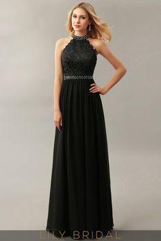 A-Line Chiffon High Neck Sleeveless Floor-Length Prom Dress. Long Black  Evening DressBollywood FashionBeltGownsHow To WearProm Dresses 2016Lace ... 671608d85af3