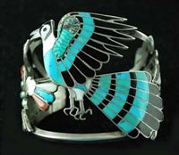 Masterfully crafted this beautiful bracelet has detailed inlay beyond compare. Hand fabricated by Master Zuni artist Dixon Shebola (b.1937-1976).