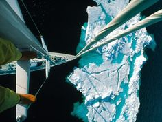 Approaching an iceberg from the mast of a ship.