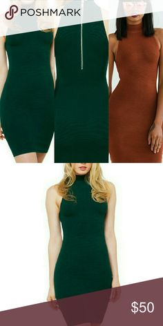 OLIVACEOUS Hi Neck Bodycon Dress Hunter Green (thick ribbed construction)  Sleeveless, mock neck, woven  Exposed back zipper,  Body-con silhouette 45% Rayon 30% Cotton 25% Spandex  Hand wash Imported Olivaceous  Dresses Mini