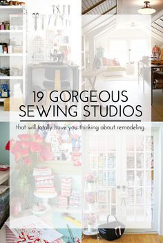 19 Gorgeous Sewing Studios that will totally have you thinking about remodeling Or at least picking up the fabric from your sewing table Sewing Room Design, Sewing Room Storage, Sewing Room Decor, Sewing Spaces, Sewing Room Organization, My Sewing Room, Craft Room Storage, Sewing Studio, Sewing Rooms