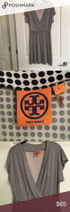 Tory Burch Short Sleeve Polka-Dot Dress Tory Burch Short Sleeve Dress. Polka-Dot pattern. Surplice neckline. 3 in wide Elastic Waistband. Navy/Beige. Size Large. 40in shoulder to hem. 100% Silk. Fabric has slinky feel. Fabric has jersey knit characteristics. Suggest wearing a camisole. Tory Burch Dresses Midi