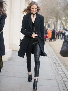 On Olivia Palermo: Paige shirt, J Brand Super Skinny Leather Trousers ($1197); Lovers + Friends coat; Jimmy Choo Mazzy 65 Leather Ankle Boots ($696)