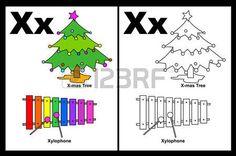 Kids Alphabet coloration page du livre avec d�crits clip-arts � la couleur. Lettre X photo